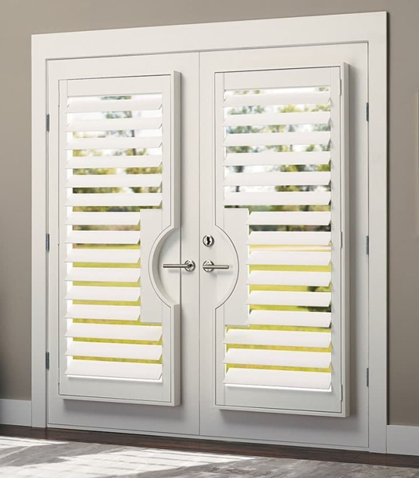 timber plantation shutters french door