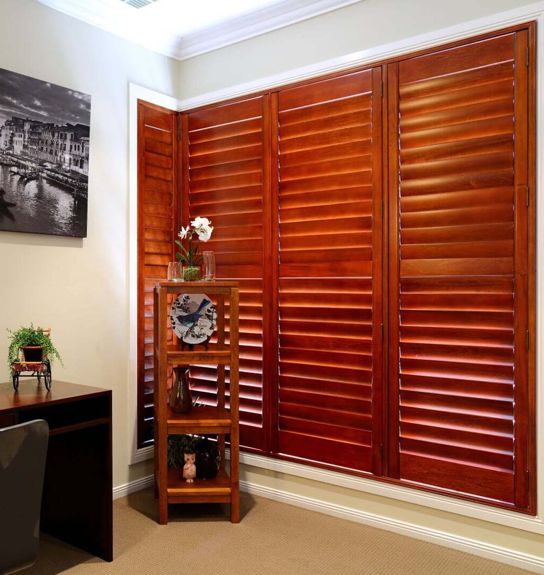 timber plantation shutters photo gum red